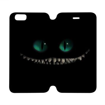 ALICE IN WONDERLAND CHESHIRE CAT Wallet Case for iPhone 4/4S 5/5S/SE 5C 6/6S Plus Samsung Galaxy S4 S5 S6 Edge Note 3 4 5