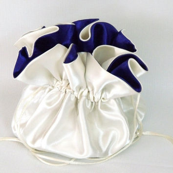 Satin Bridal Wedding Bag Ivory and Blue Violet  With Pockets