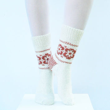 Wool socks - hand knit women socks - gift for her - white and orange