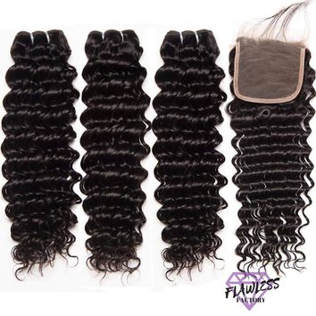 Brazilian Deep Wave Hair Extensions 3 Bundles With Lace Closure