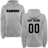 Women's Oakland Raiders Steel Custom Name & Number Wordmark Pullover Hoodie