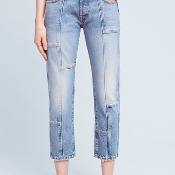 Current/Elliott High-Rise Patchwork Jeans