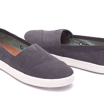 CHARCOAL GREY BRUSHED NYLON WOMEN'S AVALON SLIP-ONS