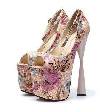 19cm Super High Heel Women Pumps Flower Printed Leather Platform Pumps Pink Buckle Party Club Shoes Strange Heels Size 43