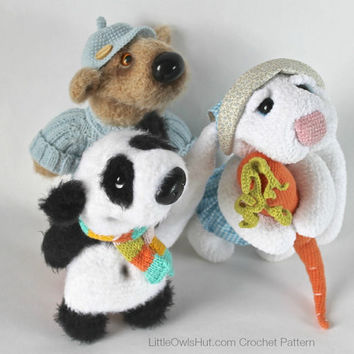 056 3 friends: Bear, Rabbit, Panda - Amigurumi Crochet Pattern PDF file by Astashova Etsy