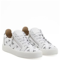 Giuseppe Zanotti Gz The Signature White Fabric Low-top Sneaker With Black Logo Motif - Best Deal Online