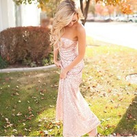 (Pre-Sale) Luxurious New Years Eve Tube Maxi Dress Gold