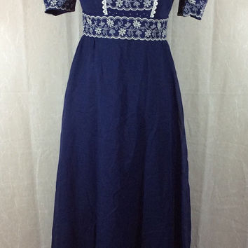 Empire Waist Dress- Boho Hippie Vintage Navy Blue Full Length White Embroidery with Ruffle Hem Size 6