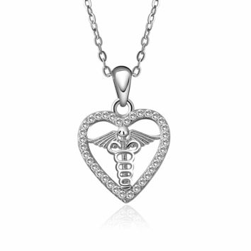 Heart Caduceus Necklace - 925 Sterling Silver