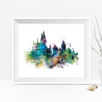 Hogwarts Castle Art Print Watercolor Hogwarts Poster Harry Potter Gift Harry Potter Art Painting Niffler Kids Room Wall Art Digital Download
