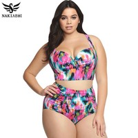 New Bikinis High Waist Swimsuit Women Plus Size Swimwear Print Vintage Floral Beach Push Up Bikini Set 4XL