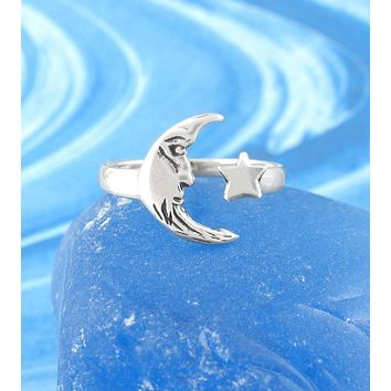 Crescent Moon and Star Adjustable Ring