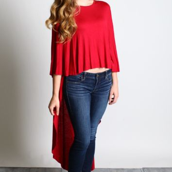 Burgundy Maxi Poncho Top