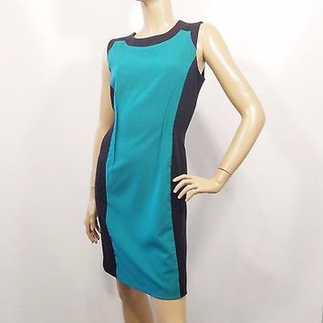 Calvin Klein Colorblock Teal Black Career Wear To Work Sleeveless Dress Size 10
