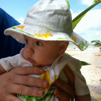 Hand Painted Child's Hat - Wide Brim Hat - Child's Sun Hat -  Baby Hat - Hawaii Hat - Kauai Hand Painted - Hat with Strap