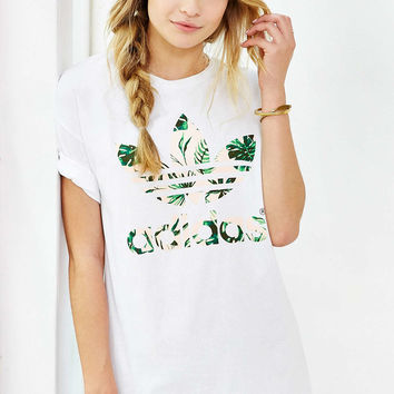 adidas Double Logo Island Floral Tee - Urban Outfitters