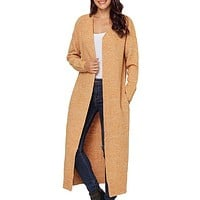 Yellow Open Front Pockets Knit Long Cardigan