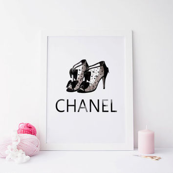 Coco Chanel Poster Paris Modern Fashion Illustration Print Abstract Art Wall Decor Chanel Print Chanel Shoes Poster Fashion, Gift for her