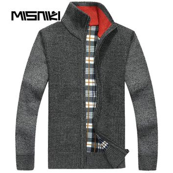 High Quality Autumn Winter Wool Sweater Men Casual Warm Knitted Cardigan Men
