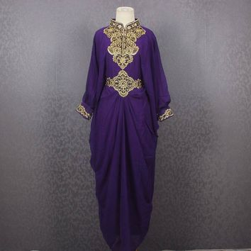 Stunning Purple Long Caftan, Maxi Dress, Embroidery Caftan Oversized Dress, Loungewear, Long Dress, Tunic, Bohemian Dress, Boho Dress