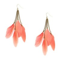 Small Coral Feathers and Chains Drop Earrings | Claire's