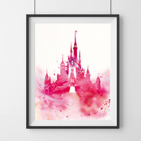 Disney castle watercolor, Watercolor print, Disney poster, princess castle, castle watercolor, princess watercolor, Wall art, kids decor- 55
