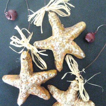 STAR FISH Ornament-Set/3 in Hand-Painted Box-Primitive Folk Art Star Fish Ornaments sculpted from clay & hand painted