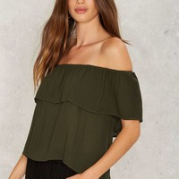 Montage Off-the-Shoulder Top - Olive