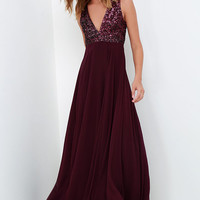 Dress the Population Julia Plum Purple Sequin Maxi Dress