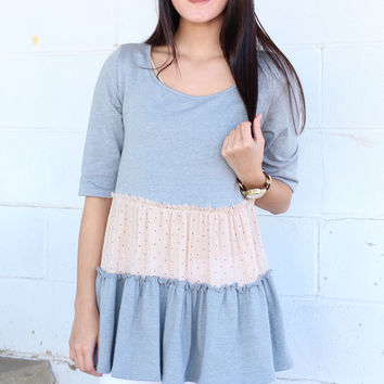 Ruffle + Dots French Terry Babydoll Top {Slate}