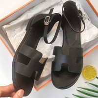 Hermes Classic Fashion Women Casual Leather Sandals Shoes Black