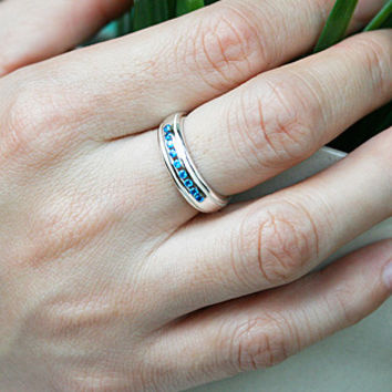 White Quartz,Blue Topaz Silver Ring Sterling Ring .925 Silver Ring Personalized Ring