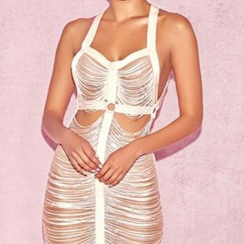 Sprung On You Blush Pink Sleeveless Draped Tassel Cut Out Backless Bodycon Mini Dress