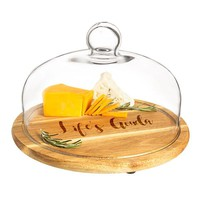 Personalized Acacia Wood Tray with Glass Dome