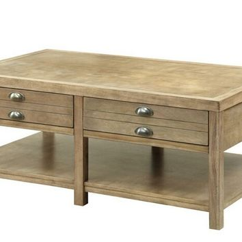 Coaster 701958 Wildon collection driftwood style finish wood coffee table with drawers