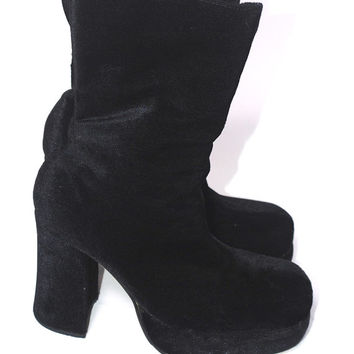 Vintage 1990s Black Fuzzy goth club kid high heel round toe stacked platform bootie boot 7 or 7.5