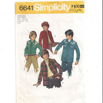 Simplicity 6693 Pattern for Shirt Jacket, Vintage Pattern, Size 10 & 12, from 1974, Western Style Yoke, Home Sewing Pattern, 1974 Fashion