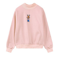 Women's Cute Deer Pattern Crew Neck Pullover Sweatshirt