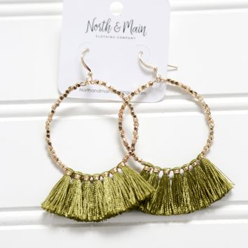 Beaded Tassel Hoop Earrings, Green