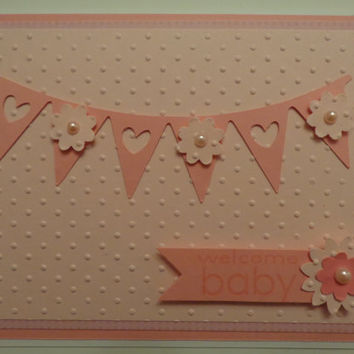 New Baby Girl Card, Baby Shower Card, Baby Announcement Card-Handmade & Hand stamped