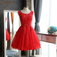 New Elegant Red Lace A-Line Cocktail Dresses 2016 Backless Sparkly Beading Short Party Prom Dress