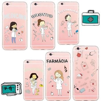 Mag Fond For iPhone 8 X Cute Doctor Nurse Medical Case for iPhone 6 6s 6Plus 5 5s se 7plus Cover Soft TPU Cell Phone Cases Coque