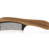 Karsd Hair Combs Green Sandal Wood Comb & Black Ox Horn Comb Handle Fine Tooth Comb