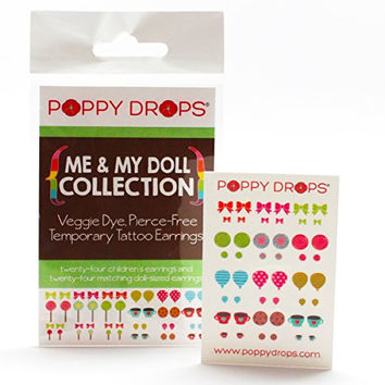 Me & My Doll Collection - Veggie-Based Temporary Tattoo Earrings. Safe, Non-Toxic Ear Piercing Alternative.