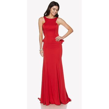 Red Fit and Flare Evening Gown Cut Out Back with Ruffles