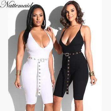 NATTEMAID Spaghetti Strap V Neck Sleeveless Backless Sexy Jumpsuit Rompers Womens Jumpsuit Bodycon Sequin 2018 Summer Jumpsuit