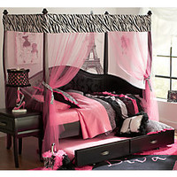 Belle Noir Dark Merlot 6 Pc Zebra Canopy Daybed Bedroom
