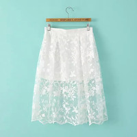 Women's Fashion Floral Embroidery Skirt [4919625092]
