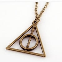 Accessories pendant necklace bronze silver triangle necklace
