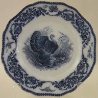 Wild Turkey Plate in Flow Blue, Cauldon English Perfect for Thanksgiving